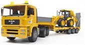 Тягач с прицепом MAN с колёсным экскаватором JCB 4CX Bruder 02-776